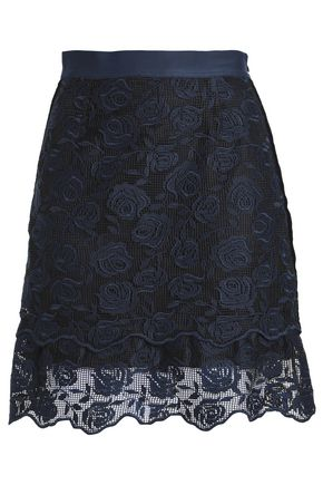 SANDRO Velvet-trimmed lace mini skirt