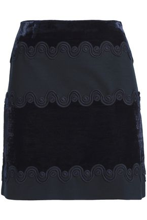 SANDRO_XX Lace-trimmed velvet and ponte mini skirt
