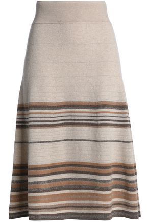 AGNONA Metallic striped cashmere-blend skirt