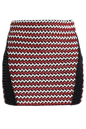 ZOE KARSSEN Woven faux leather and knitted mini skirt
