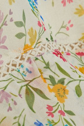 LOVE SAM Tiered floral-print voile midi skirt