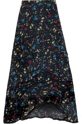 LOVE SAM Blossom tiered floral-print voile midi skirt