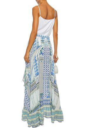 CAMILLA Salvador Summer embellished printed washed-silk maxi skirt