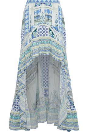 CAMILLA Salvador Summer embellished printed washed-silk maxi skirt