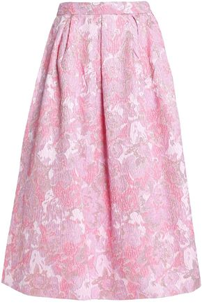 PERSEVERANCE Floral-print jacquard midi skirt