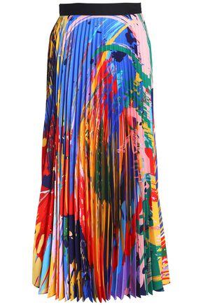 MARY KATRANTZOU Printed plissé crepe de chine midi skirt