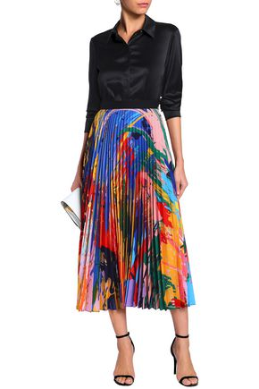 Mary Katrantzou MARY KATRANTZOU WOMAN PRINTED PLISSÉ CREPE DE CHINE MIDI SKIRT BABY PINK