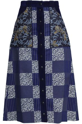 MARY KATRANTZOU Velvet-trimmed printed paneled cotton-gabardine midi skirt