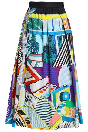 MARY KATRANTZOU Pleated printed stretch-cotton-poplin midi skirt