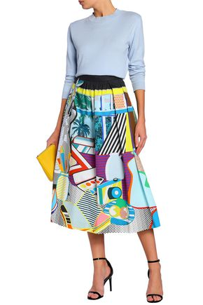 Mary Katrantzou MARY KATRANTZOU WOMAN PLEATED PRINTED STRETCH-COTTON-POPLIN MIDI SKIRT BLUE