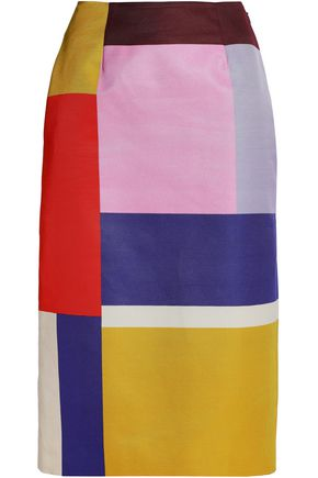MARY KATRANTZOU Color-block cotton-blend skirt