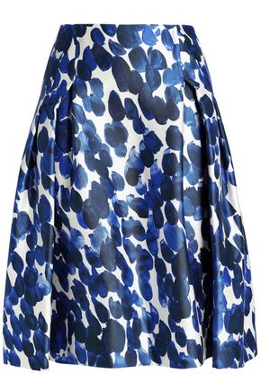 CAROLINA HERRERA Pleated printed silk and wool-blend skirt