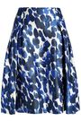 CAROLINA HERRERA Pleated printed silk and wool-blend skirt