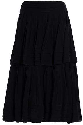 CAROLINA HERRERA Layered silk-georgette midi skirt