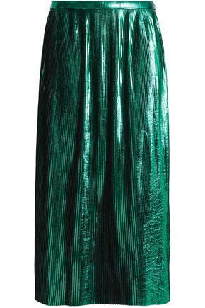 RACHEL GILBERT Hadarah plissé coated-felt midi skirt