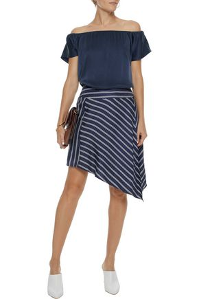JOIE Asymmetric striped silk-satin twill mini skirt