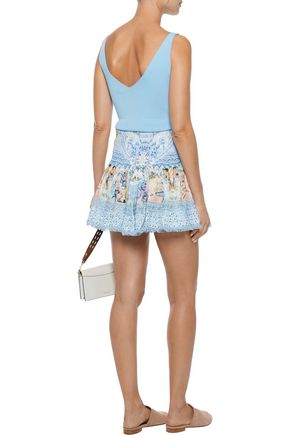 CAMILLA Girl Next Door embellished printed voile mini skirt