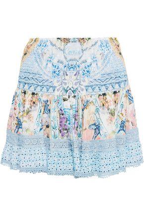 CAMILLA 装飾付き プリント ポプリン ミニスカート