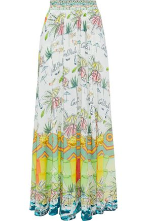 CAMILLA Sundowners embellished printed woven maxi skirt