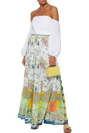 88c69ff010 CAMILLA Sundowners embellished printed voile maxi skirt