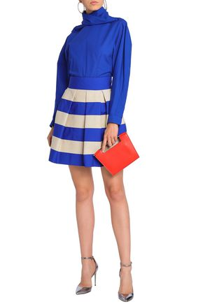 7e583cac80 DELPOZO Pleated striped cotton-poplin and canvas mini skirt