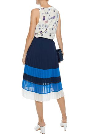 JOIE Alpons pleated color-block chiffon skirt