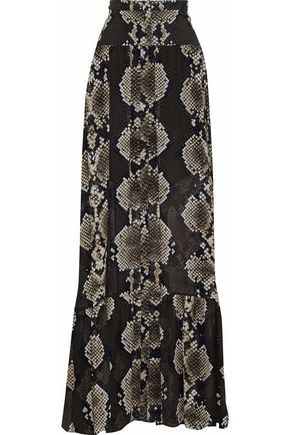 ROBERTO CAVALLI Snake-print silk-chiffon maxi skirt