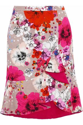 ROBERTO CAVALLI Ruffled floral-print cotton-blend cloqué mini skirt