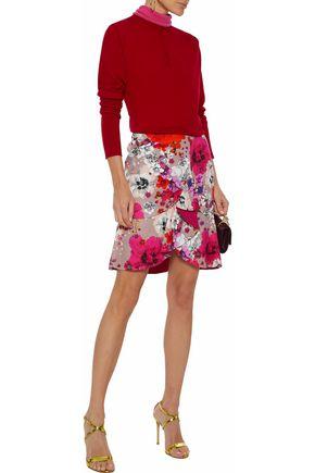 8182ab79b1fe ROBERTO CAVALLI Ruffled floral-print cotton-blend cloqué mini skirt