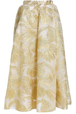 DELPOZO Metallic jacquard midi skirt