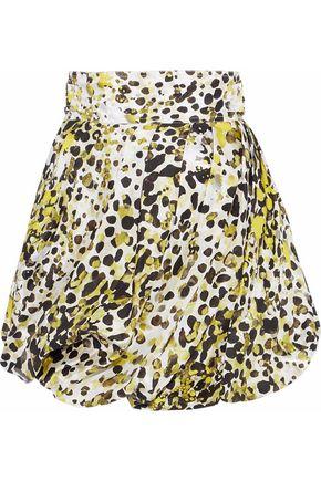 ROBERTO CAVALLI Gathered printed silk-twill mini skirt