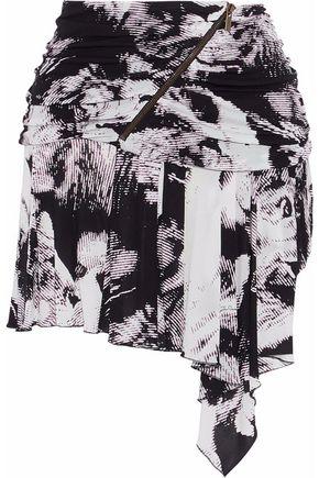 ROBERTO CAVALLI Draped printed jersey mini skirt