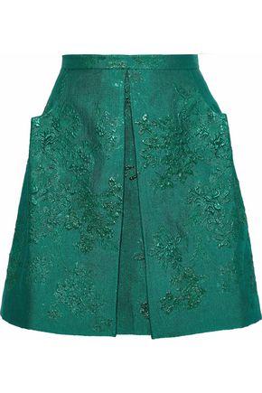 DELPOZO Pleated brocade mini skirt