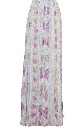 ROBERTO CAVALLI Printed plissé silk-chiffon maxi skirt