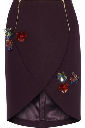 DELPOZO Wrap-effect floral-appliquéd twill mini skirt