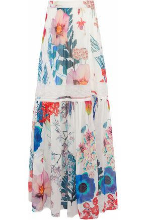 ROBERTO CAVALLI Lace-trimmed floral-print silk-chiffon maxi skirt