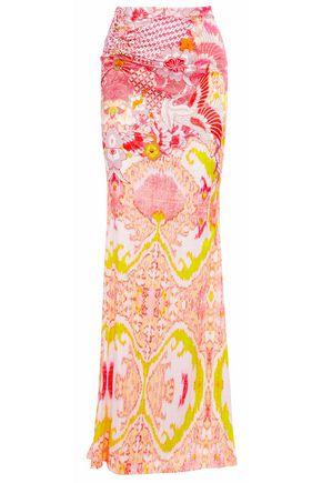 ROBERTO CAVALLI Ring-embellished printed stretch-silk satin maxi skirt