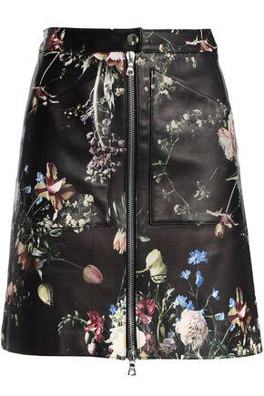 ADAM LIPPES Floral-print leather mini skirt