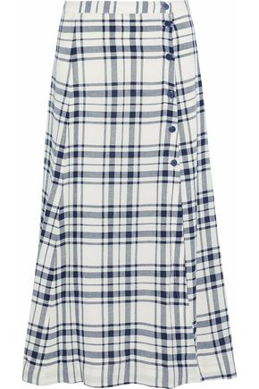 THEORY Checked woven midi skirt