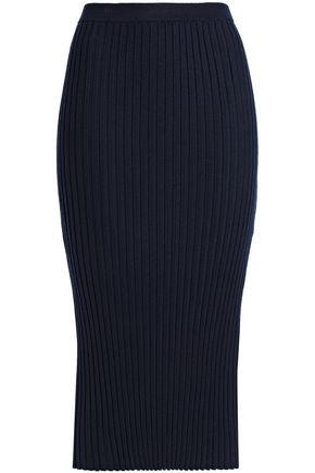 JOSEPH Ribbed merino wool-blend midi skirt