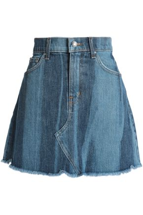 DEREK LAM 10 CROSBY Frayed two-tone denim mini skirt