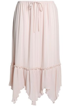 SEE BY CHLOÉ Asymmetric pleated crepe midi skirt