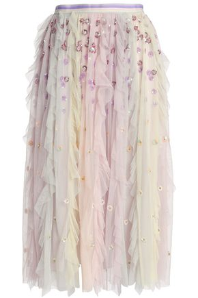 NEEDLE & THREAD Rainbow embellished ruffled tulle midi skirt