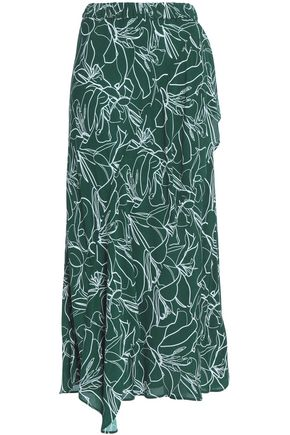 CHARLI Per draped printed crepe de chine midi skirt