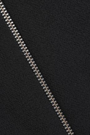 MAJE Jona zip-embellished cotton-blend midi skirt