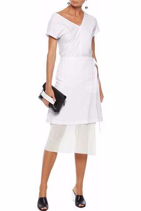 93a5638e166bf HELMUT LANG Layered linen-blend poplin and gauze midi skirt