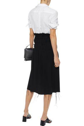 HELMUT LANG Shirred bouclé midi skirt
