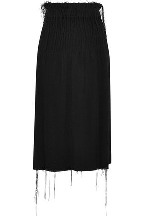 HELMUT LANG Shirred bouclé midi skirt