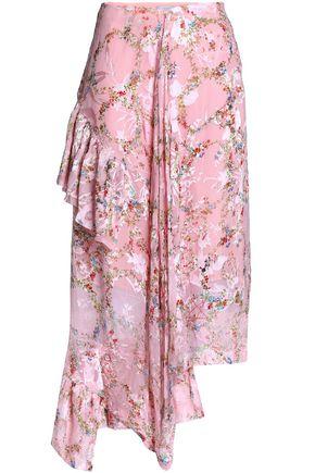 PREEN by THORNTON BREGAZZI Asymmetric floral-print devoré silk-blend chiffon midi skirt