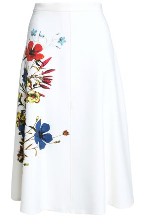 ERDEM Flared floral-print crepe skirt
